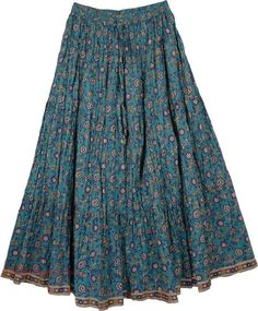 Paradise Blue Cotton Print Long Skirt in Clothing. Cotton Print Long Skirt - A very unassumingly beaut print on a voluminous skirt. Long Skirt Fashion, Midi Skirt Outfit, Casual Skirt Outfits, Girly Outfits, Modest Outfits, Classy Outfits, Modest Fashion, Dress Skirt, Fashion Outfits