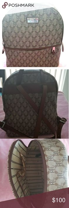 Ralph Lauren backpack Brown with RL all over the backpack. Medium size. Ralph Lauren Bags Backpacks
