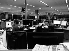 In the newsroom, late at night on a Saturday.