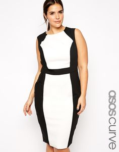 Buy ASOS CURVE Exclusive Colour Block Pencil Dress at ASOS. Get the latest trends with ASOS now. Asos Party Dresses, Party Dresses For Women, Plus Size Dresses, Dinner Dresses, Midi Dresses, Asos Curve, White Work Dresses, Dress Black, Dress Work