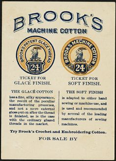 Brook's spool cotton. Brook's machine cotton. [back] | Flickr - Photo Sharing!