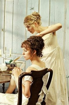 Pride and Prejudice beautiful getting ready picture of bride and sister
