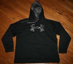 UNDER ARMOUR Black Pullover HOODIE SWEATSHIRT jacket-Men XL-athletic/racing/prep
