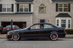 Black BMW e36 coupe on some nice gold and polished 8,5x18 BBS RK II