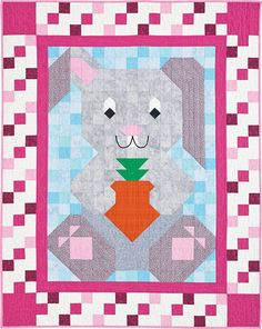 Hop into Spring with a sweet bunny on a pieced crib quilt. Bunny PatchMar/Apr 12  Buy this issue(print) Buy this digital issue Buy the kit (includes the pattern)    Reader Rendition: Bunny Patch made by Mary Kennedy. Mary made this Bunny crib quilt for a friends first grandson. The blues interchanged for pinks make it more suited for a little boy.