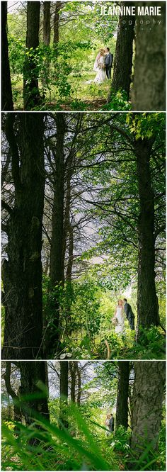 Bride and groom portraits in the woods by Spirit of Christ Lutheran Church in Ham Lake, MN photographed by Saint Paul wedding photographer Jeannine Marie Photography #bride #groom #wedding #weddingportraits #woods #minneapolisweddingphotographer #minnesotaweddingphotographer #jeanninemariephotography