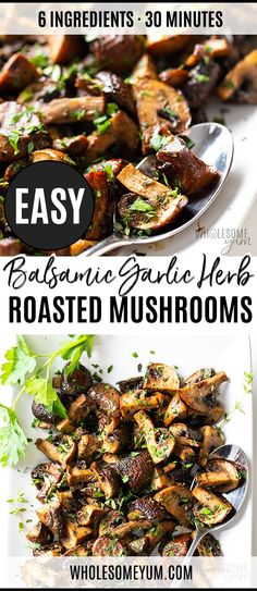 Oven Mushrooms Recipe with Balsamic, Garlic and Herbs - You'll want to put these oven roasted mushrooms with balsamic on EVERYTHING! My oven roasted mushrooms recipe is EASY, plus I'm sharing freezing instructions for balsamic roasted mushrooms. Mushroom Recipes, Veggie Recipes, Real Food Recipes, Vegetarian Recipes, Cooking Recipes, Healthy Recipes, Oven Roasted Mushrooms, Paleo Stuffed Mushrooms, Balsamic Mushrooms