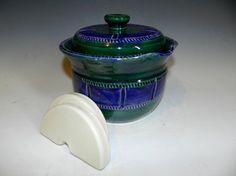 Textured blue and green 2 QT fermenting by MarkCampbellCeramics