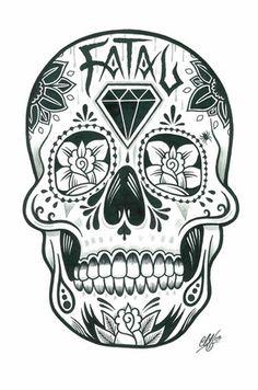 skull tattoo idea for K's leg tattoo
