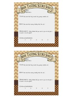 Free printables for beer-tasting party
