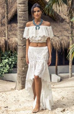 6078d9ffd952 Santa Cruiz High-Low Embroidery White Skirt. OutDazl