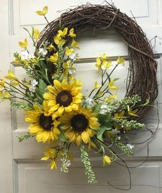 Farmhouse Rustic Country Sunflower Spring/Summer Wreath for your Front Door