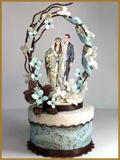 Blue Boho Chic, Vintage Bohemian Wedding Cake Topper Image