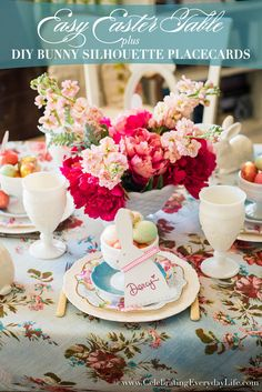Create this Easy Easter Table with DIY Bunny Silhouette Place Cards. Discover how to create this budget friendly table to host your friends and family.