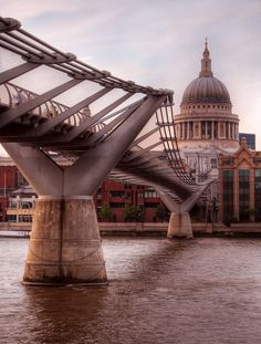 Millennium Bridge and St Paul's Cathedral. London. Great Britain.