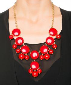 Red Lantern Bubble Bib Necklace