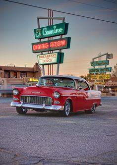 The '55 Chevy is my favorite car from the `50s. Even though it is a big car, as long as you put a big engine in it, it is fast. I would like to get one of these and put a LS3 in it.