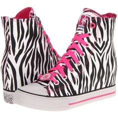 SKECHERS Daddy's Money - Gimme Megabucks (88 AUD) ❤ liked on Polyvore featuring shoes, zebra, zebra print shoes, skechers, zebra shoes, print shoes and hidden wedge high tops