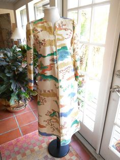 Vintage Mary Mcfadden Hand Painted Quilted Silk Couture Coat Dress Exclusive Designer Asian Evening Attire Small Medium
