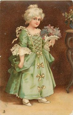 I ❤ vintage ephemera . . . Art nouveau. Girl in green gown, holds flowers. Circa 1903