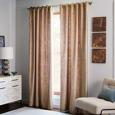 Brushstroke Ogee Jacquard Curtain West Elm Curtains For Bedroom And Living Room Areas