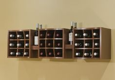 I really like this cubed wall wine rack. I would attach the hanging wine glass tracks underneath. Wood Wine Racks, Wine Rack Wall, Wine Wall, Wine Rack Inspiration, Bottle Rack, Wine Storage, Cool Walls, Room Organization, Wall Decals