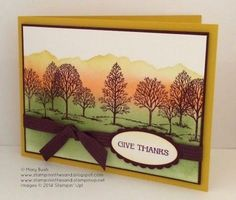 Stampin' Up! ... handmade Thanksgiving card ... luv the colors ... Lovely as a Tree ... orange landscape lines ... geen fields ... forest of leafless trees ... great card!