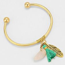 Feather Tassel Charm Cuff Bracelet GOLD TURQUOISE Leaf Stone Metal Cuff Jewelry