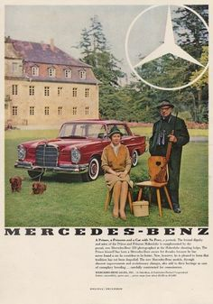 Vintage Mercedes Benz advertisement (1959)with Dachshunds