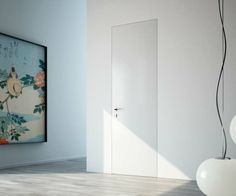 •Syntesis® Line hinged doors are frameless and available with a great variety of stylish handles.  The doors can be painted with the same finish of the wall, hiding perfectly and becoming one with the wall.  The special polyester back guarantees high water resistance and great stability in time.  Moreover, once it is painted, it ensures perfect aesthetic results.