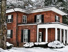 Brick dormitory in winter