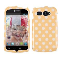 Unlimited Cellular Snap-On Cover Faceplate for Kyocera C5170 / Hydro (White Polka Dots on Light Orange)
