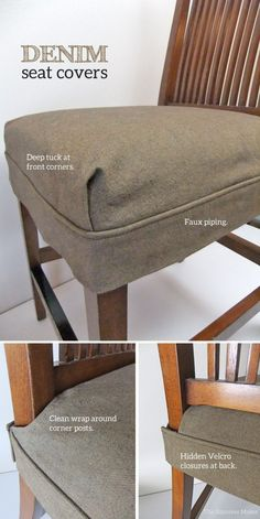 Washable, brown denim seat covers with tailored fit.