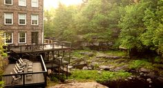 Ledges Hotel in Hawley, PA. The hotel overlooks a scenic gorge and waterfall.