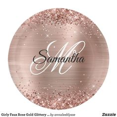 Girly Faux Rose Gold Glittery Foil Monogram Paper Plate