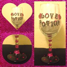 Hand painted wine glass with glitter with gems for Valentines