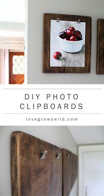 DIY Photo Clipboards. Rustic kitchen.