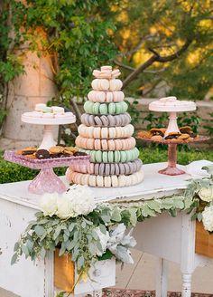 Romantic French macaron tower at a outdoor garden wedding. Wedding Decorations, Wedding Dessert