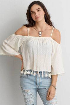 AEO Off-The-Shoulder Tassel Shirt  by AEO | Stay fresh. Free your shoulders and give your look a warm weather upgrade.  Shop the AEO Off-The-Shoulder Tassel Shirt  and check out more at AE.com.