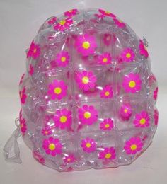 90s clear and pink daisy print bubblebag backpack bubble rucksack inflatable blow up plastic grunge