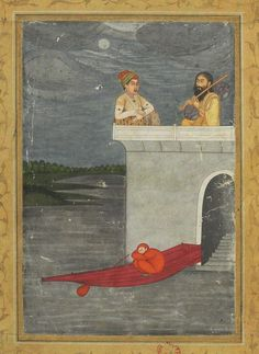 18th C. Kedara Raag is dedicated to Shiva played in the evening. It may be described as drowning in contemplation of Shiva. A prince visits by boat an ascetic playing music at night under the moon in his abode in a lake Rajasthan, India