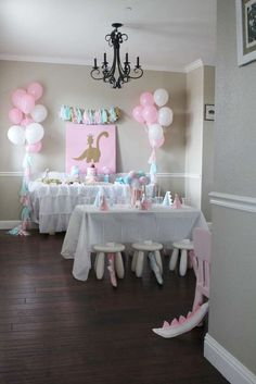 Girly dinosaur birthday party! See more party planning ideas at CatchMyParty.com!