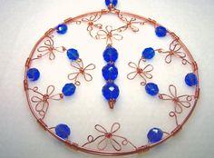 Copper Suncatcher  Wire Flower Window Art with by BikerBlingCa