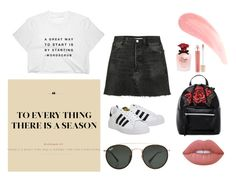 wednesday by deichaac on Polyvore featuring polyvore, fashion, style, RE/DONE, adidas, T-shirt & Jeans, Ray-Ban, Lime Crime, Jane Iredale, Dolce&Gabbana and clothing