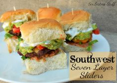 Southwest Seven Layer Sliders- a fun way to dress up a plain ol' burger! SixSistersStuff.com #recipe #grill #hamburger