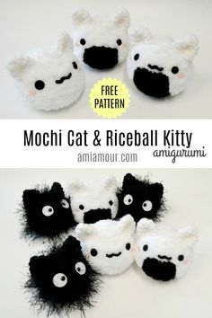 Mochi Cat Amigurumi and Riceball Kitty – Free Pattern – Ami Amour Cat Amigurumi, Crochet Patterns Amigurumi, Crochet Dolls, Knitted Dolls, Quick Crochet, Cute Crochet, Crochet Birds, Crochet Food, Crochet Bear