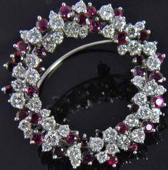 57a6ecc6f Estate Vtg 18K White Gold 6.41 TW Natural Ruby Diamond Wreath Circle Pin  Brooch