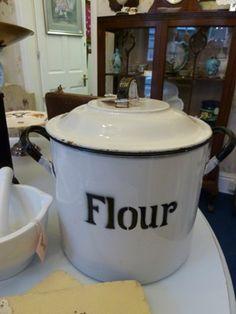 Enamel Flour Bin,loving this!