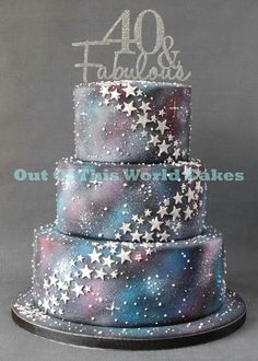 Stars, galaxies and space three tiered cake for a 40th birthday