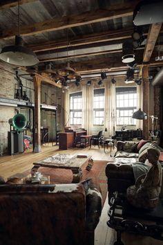 Catwalk--cool! PASSPORT: Bachelor Pad Russian Loft Tour - Living Room